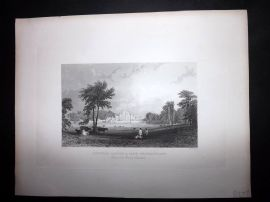 After Allom 1846 Antique Print. Lowther Castle & Park, Westmorland